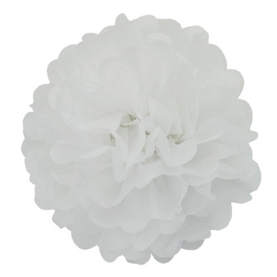 Witte pompom versiering 25 cm