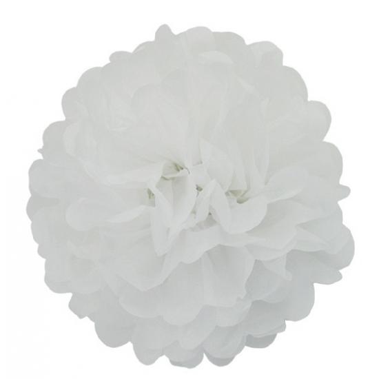 Witte pompom versiering 35 cm