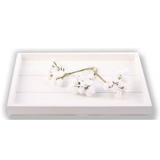 Witte satijnen roosjes 12 cm
