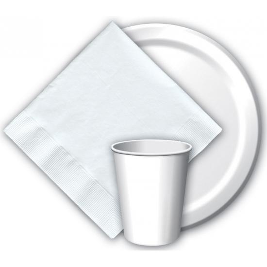 Witte wegwerp bordjes