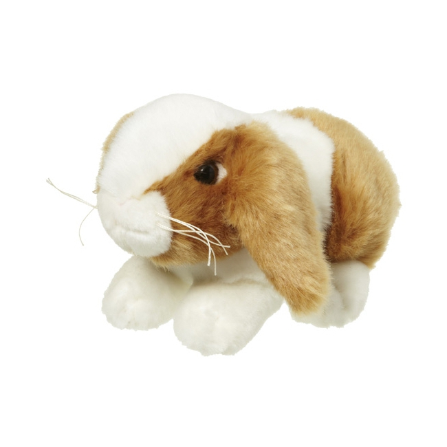 Zacht knuffel konijntje bruin wit 18 cm