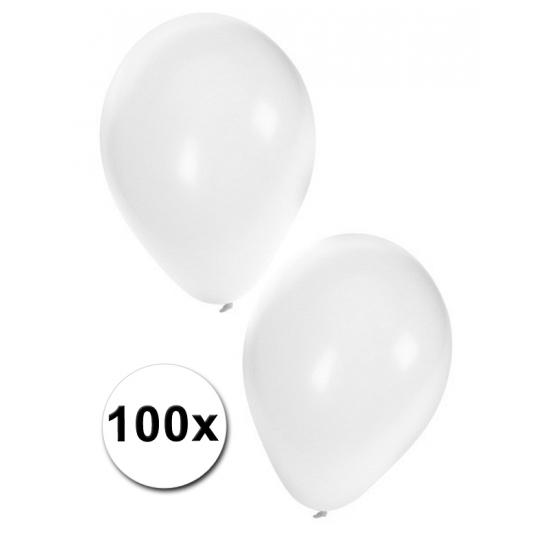 Zak ballonnen wit  100 stuks