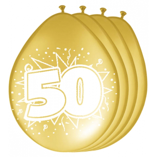 Zakje ballonnen 50 jaar metallic goud