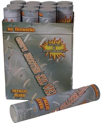 Zilveren confetti shooter 30 cm
