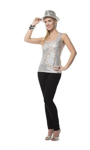 Zilveren glamour top voor dames