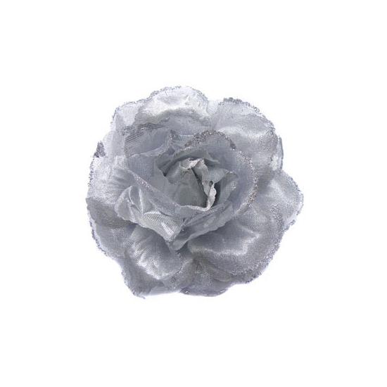 Zilveren glitter bloem voor in het haar