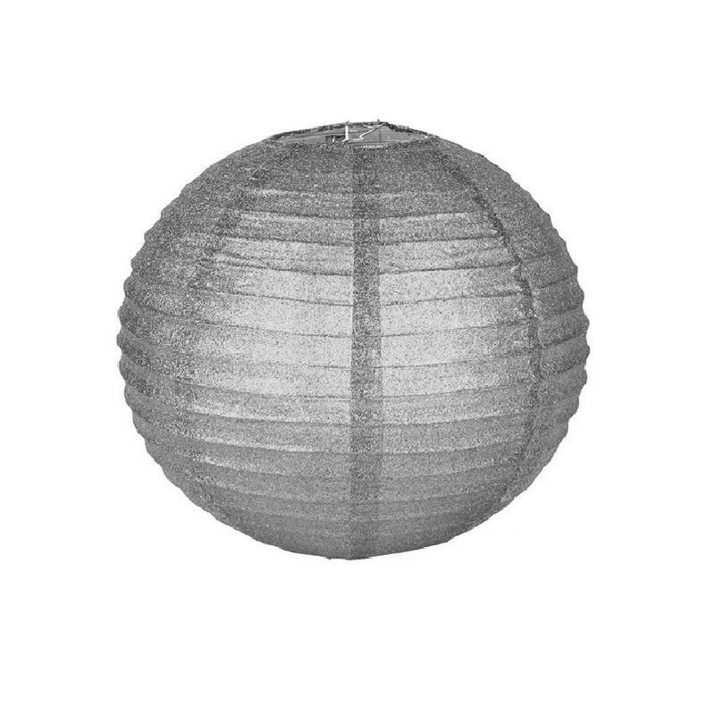 Zilveren glitter lampionnen 25 cm