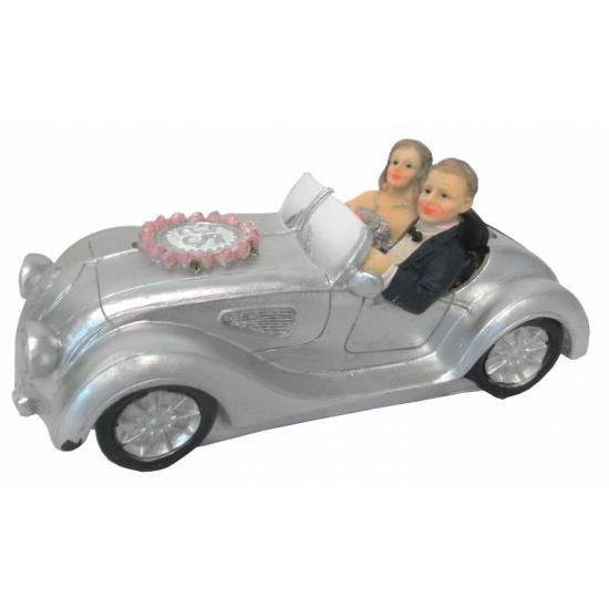 Zilveren huwelijk spaarpot auto