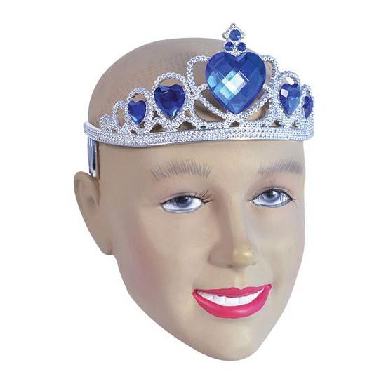 Zilveren kroontjes met blauwe stenen