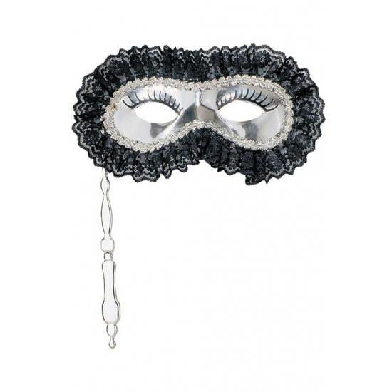 Zilveren masker met handvat