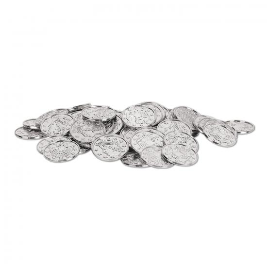 Zilveren schatkist muntjes 100 stuks