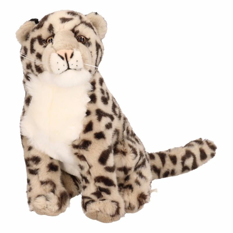 Zittende luipaard knuffel 25 cm