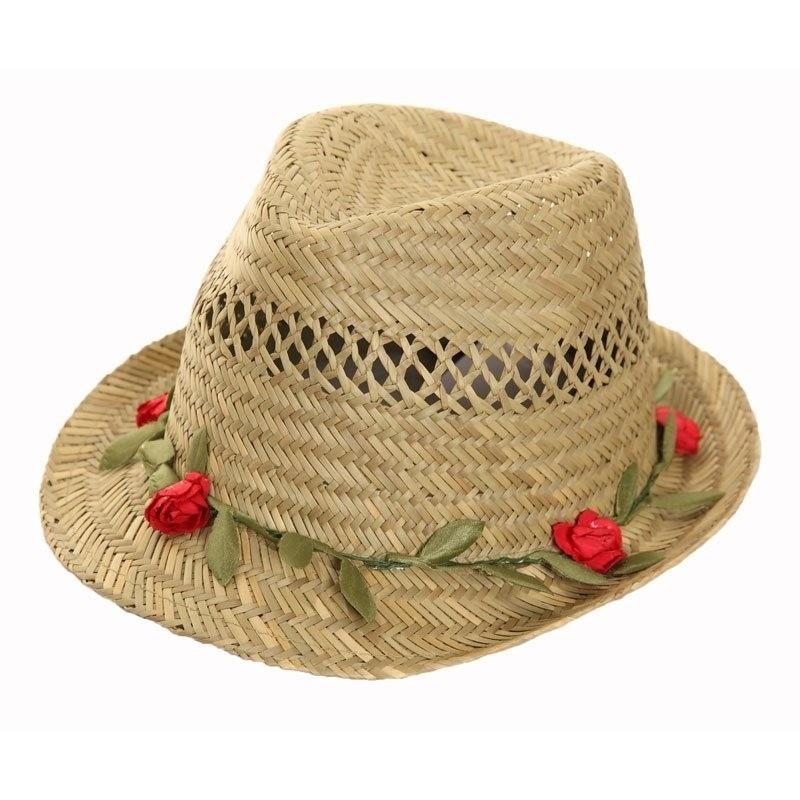 Zomer trilby hoed voor dames met roosjes
