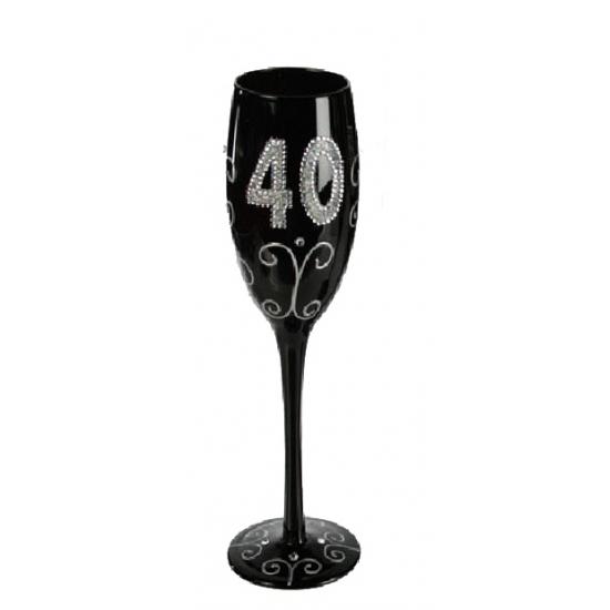 Zwart champagne glas 40 jaar