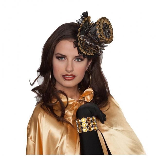 Zwart met gouden mini hoge hoed