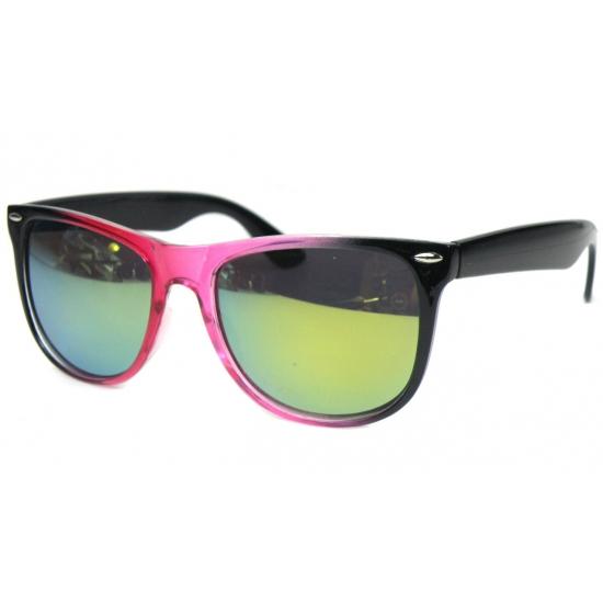 Zwart met roze spiegel zonnebril