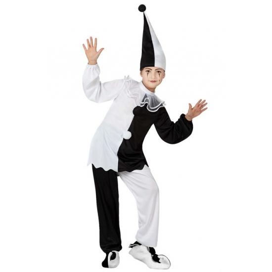 Zwart met wit pierrot clown kostuum