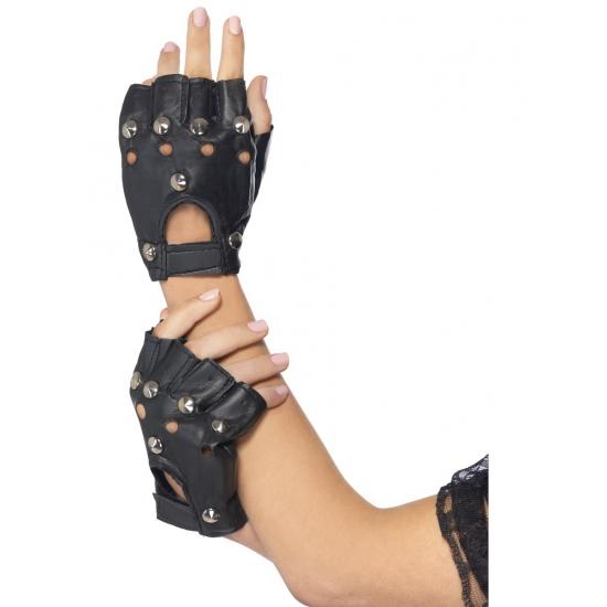 Zwart met zilvere stuts punk handschoenen