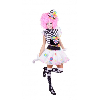 Zwart witte clown kostuums voor dames