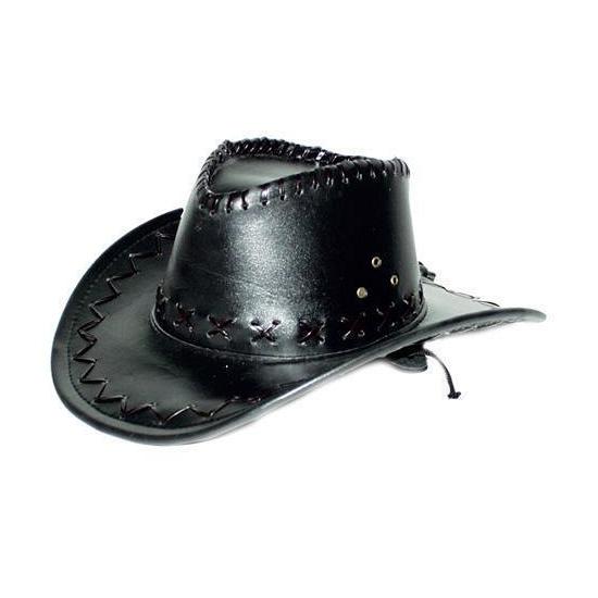 Zwarte cowboyhoed met zwarte stiksels