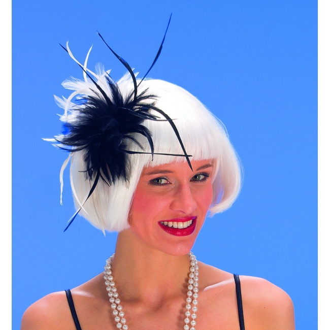 Zwarte en witte veren op haarkam
