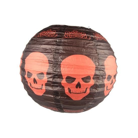 Zwarte lampion met schedels 30 cm