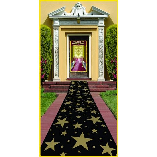 Zwarte loper met gouden sterren