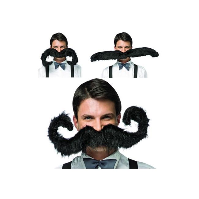 Zwarte snor extra groot 75 cm