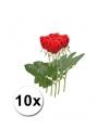 10 rode rozen 35 cm kunstbloemen