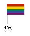 10 zwaaivlaggetjes met regenboog 12 x 24 cm