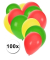 100 ballonnen rood geel groen