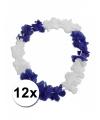 12 hawaiikransen blauw met wit 45 cm