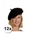 12 zwarte franse baretten