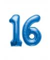 16 jaar folie ballonnen blauw
