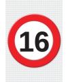 16 jaar verkeersbord mega deurposter