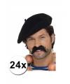 24 zwarte franse baretten luxe