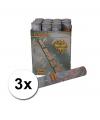 3 confetti shooters 30 cm zilver