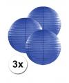 3 donker blauwe lampionnen 25 cm