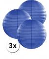 3 donker blauwe lampionnen 35 cm