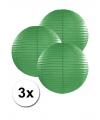 3 donker groene lampionnen 25 cm