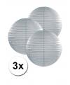 3 grijze lampionnen 25 cm