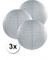 3 grijze lampionnen 35 cm