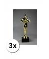 3 luxe award beeldjes 22 cm