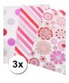 3 rollen met roze inpakpapier voor meisjes