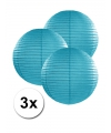 3 turquoise blauwe lampionnen 25 cm