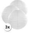 3 witte lampionnen 50 cm