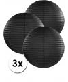 3 zwarte lampionnen 35 cm