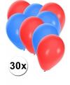 30x ballonnen rood en blauw