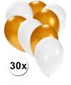 30x ballonnen wit en goud