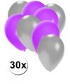 30x ballonnen zilver en paars
